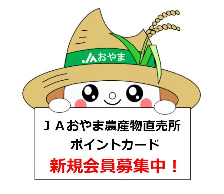 JAおやま農産物直売所ポイントカード 新規会員募集中!!!